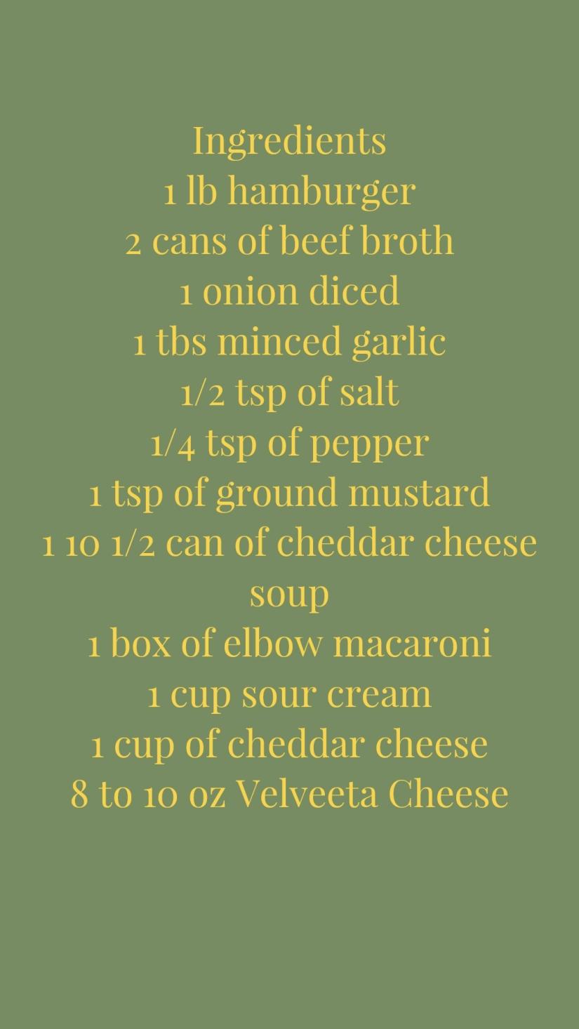 Cheeseburger Mac Ingredients